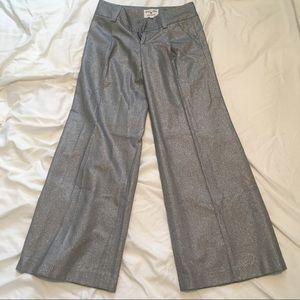 Alice + Olivia silk blend silver wide leg pants